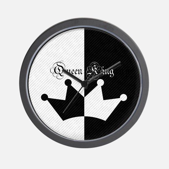 His Hers King Queen Crown Black White Wall Clock