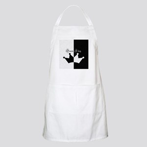 His Hers King Queen Crown Black White Light Apron