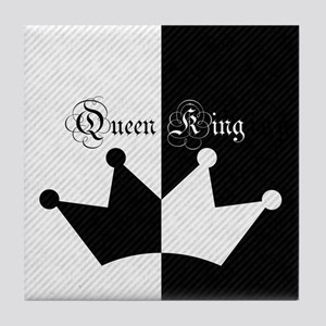 His Hers King Queen Crown Black White Tile Coaster