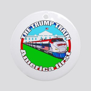 Trump Train America First Round Ornament