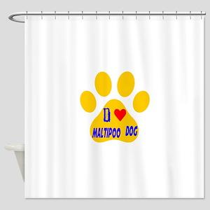 I Love Maltipoo Dog Shower Curtain