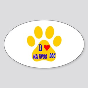 I Love Maltipoo Dog Sticker (Oval)