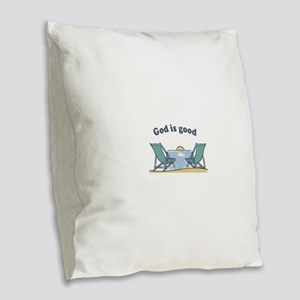 God is good Burlap Throw Pillow