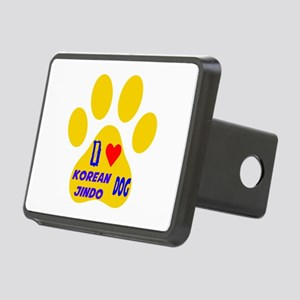 I Love Korean Jindo Dog Rectangular Hitch Cover
