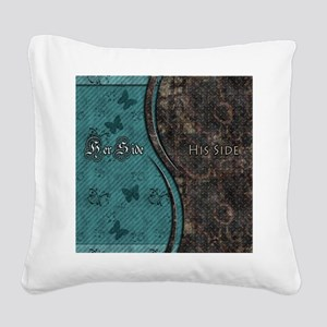 Steampunk Butterfly His Hers Teal and Rust Square