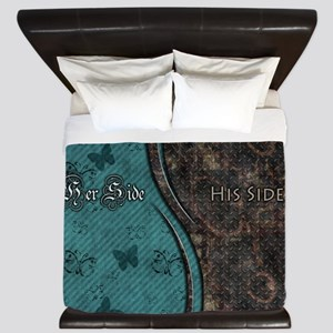 Steampunk Butterfly His Hers Teal and Rust King Du