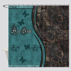 Steampunk Butterfly His Hers Teal and Rust Shower