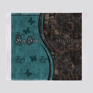 Steampunk Butterfly His Hers Teal and Rust Throw B