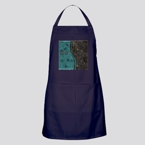 Steampunk Butterfly His Hers Teal and Rust Apron (