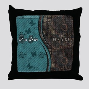 Steampunk Butterfly His Hers Teal and Rust Throw P