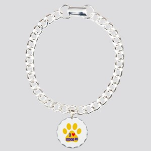 I Love Keeshond Dog Charm Bracelet, One Charm