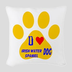 I Love Irish Water Spaniel Dog Woven Throw Pillow