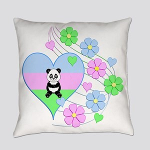 Fun Panda Heart Everyday Pillow