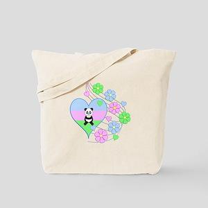 Fun Panda Heart Tote Bag