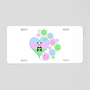 Fun Panda Heart Aluminum License Plate