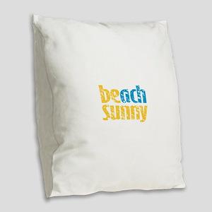 Beach Sunny Burlap Throw Pillow