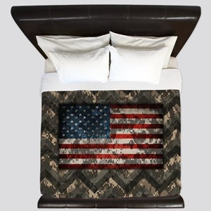 Patriotic Brown Camouflage Chevrons American Flag