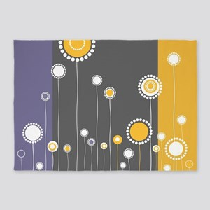 Modern Minimalistic Abstract Floral 5'x7'Area Rug