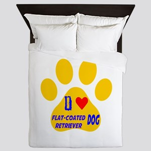 I Love Flat-Coated Retriever Dog Queen Duvet