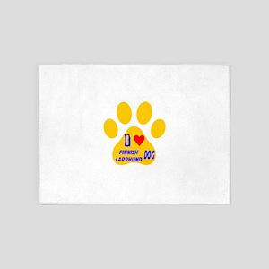 I Love Finnish Lapphund Dog 5'x7'Area Rug