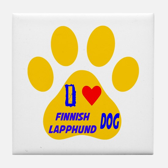 I Love Finnish Lapphund Dog Tile Coaster