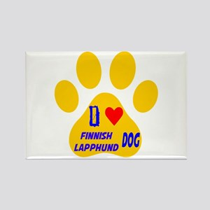 I Love Finnish Lapphund Dog Rectangle Magnet