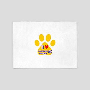 I Love Doberman Pinscher Dog 5'x7'Area Rug