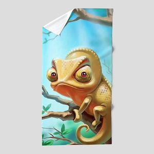 Cute Chameleon Beach Towel