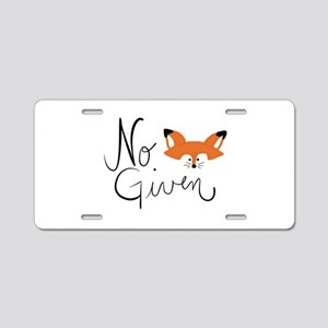 No Fox Given Aluminum License Plate