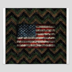 Marine Patriotic Camo Chevrons American Flag King
