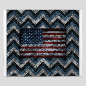 Naval Blue Patriotic Camo Chevrons American Flag K