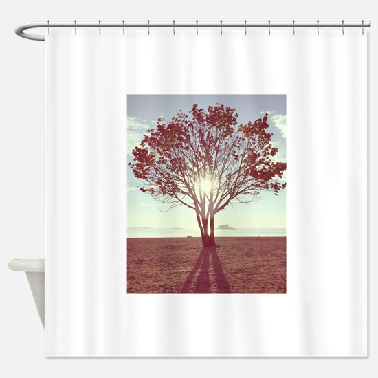 Sunny Tree in the Sand Shower Curtain