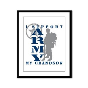 I Support Grandson 2 - ARMY Framed Panel Print