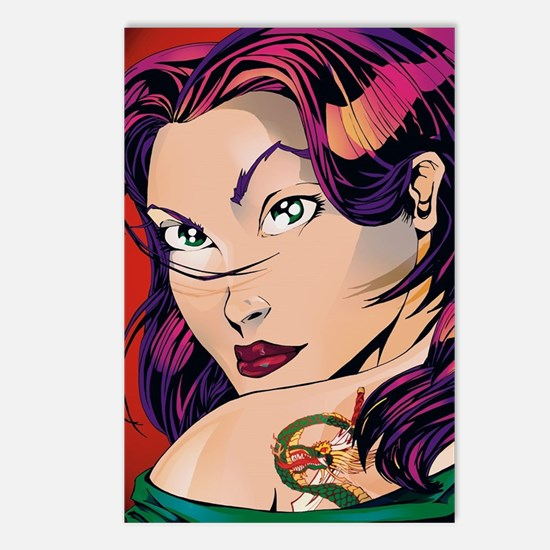 Unique Girl dragon tattoo Postcards (Package of 8)