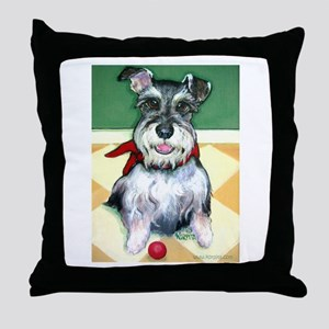 Schnauzer & Red Ball Throw Pillow