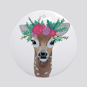 Fawn with Flower Crown Round Ornament