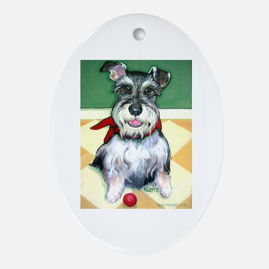 Schnauzer & Red Ball Oval Ornament