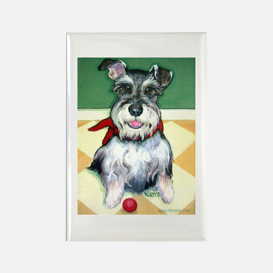 Schnauzer & Red Ball Rectangle Magnet