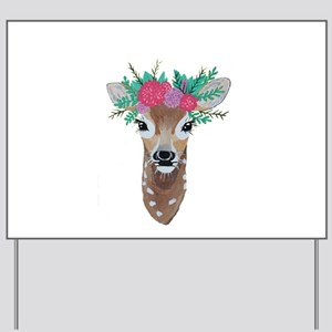 Fawn with Flower Crown Yard Sign
