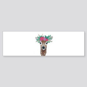 Fawn with Flower Crown Bumper Sticker