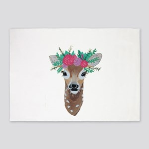Fawn with Flower Crown 5'x7'Area Rug