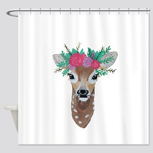 Fawn with Flower Crown Shower Curtain
