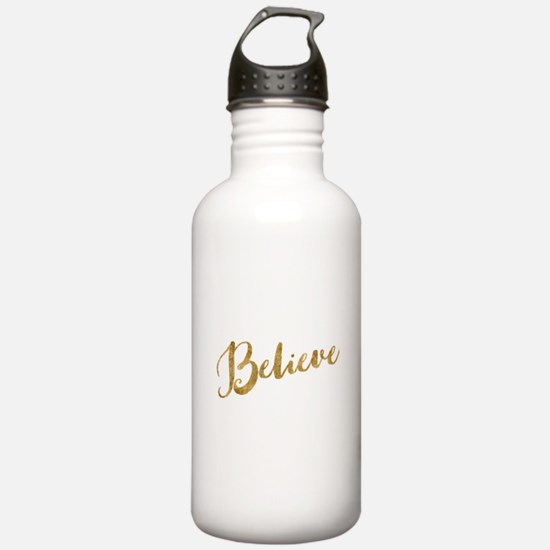 Gold Look Believe Water Bottle