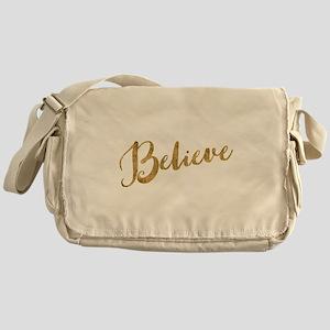 Gold Look Believe Messenger Bag