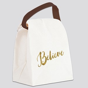 Gold Look Believe Canvas Lunch Bag