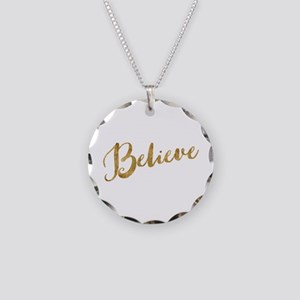 Gold Look Believe Necklace Circle Charm