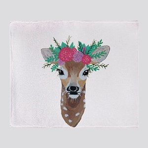 Fawn with Flower Crown Throw Blanket
