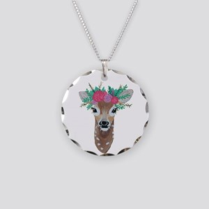Fawn With Flower Crown Necklace Circle Charm