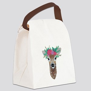 Fawn with Flower Crown Canvas Lunch Bag