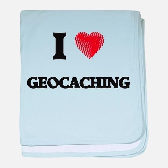 I Love Geocaching baby blanket